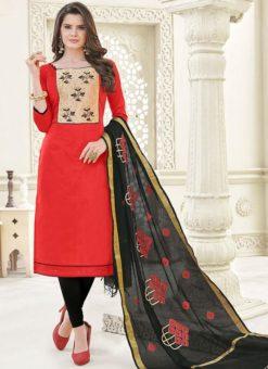 Superb Red Banglori Cotton Party Wear Churidar Salwar Kameez
