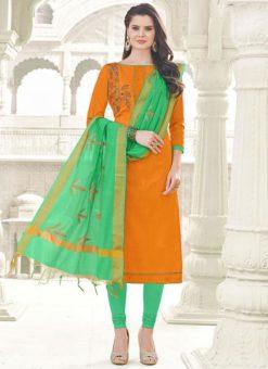 Exquisite Orange Banglori Cotton Party Wear Churidar Salwar Kameez
