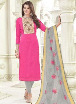 Dignified Pink Banglori Cotton Party Wear Churidar Salwar Kameez