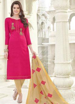 Glorious Pink Banglori Cotton Party Wear Churidar Salwar Kameez