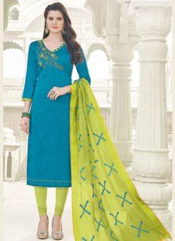 Splendid Blue Banglori Cotton Party Wear Churidar Salwar Kameez