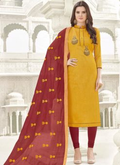 Gorgeous Yellow Banglori Cotton Party Wear Churidar Salwar Kameez