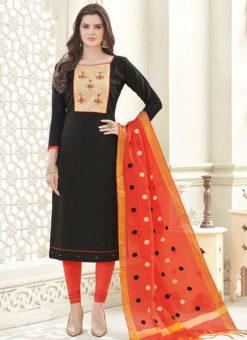 Adorable Black Banglori Cotton Party Wear Churidar Salwar Kameez