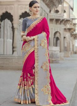 Fabulous Pink And Grey Georgette Silk Designer Wedding Wear Saree