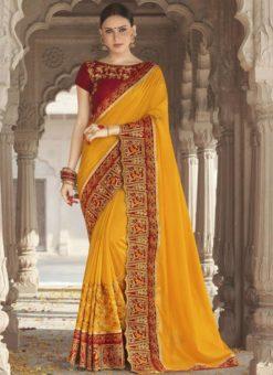 Smashing Yellow Georgette Silk Embroidered Work Wedding Wear Saree