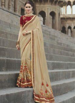 Lovely Beige Georgette Silk Designer Wedding Wear Saree