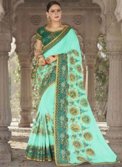 Adorable Blue Georgette Silk Wedding Wear Designer Saree
