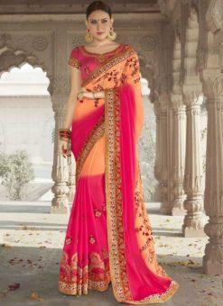Attractive Pink And Peach Georgette Silk Wedding Wear Designer Saree