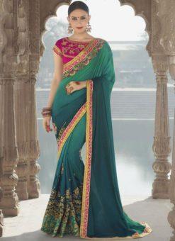 Stunning Green Georgette Silk Embroidered Work Designer Saree