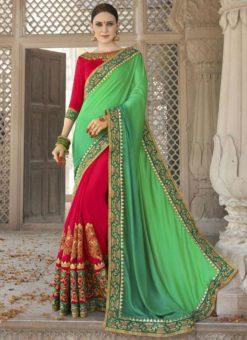 Elegant Red And Green Georgette Silk Wedding Wear Designer Saree