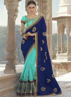 Amazing Blue Georgette Silk Designer Party Wear Saree