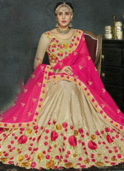 lovely Beige Banarasi Silk Wedding Wear Lehenga Choli