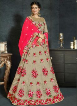 fantastic Beige Banarasi Silk Designer Wedding Wear Lehenga Choli