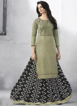 Attractive Grey Cotton Party Wear Designer Kurti With Skirt