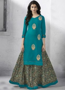 Blisful Blue Cotton Designer Kurti With Skirt