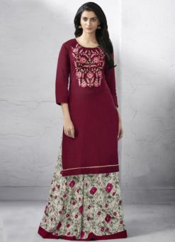 Exquisite Maroon Cotton Designer Party Wear Kurti With Skirt
