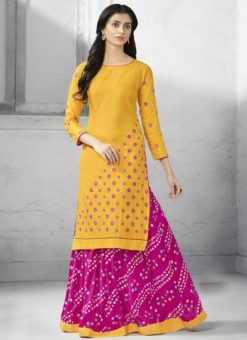 Charming Pink Cotton Party Wear Kurti With Skirt