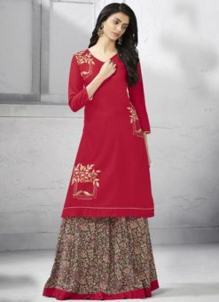 Excellent Red Cotton Designer Party Wear Kurti With Skirt