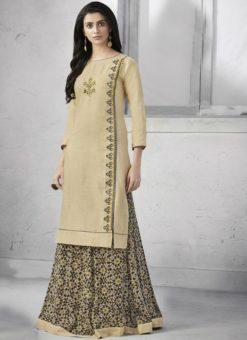 Amazing Beige Cotton Designer Kurti With Skirt