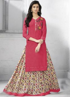 Alluring Red Cotton Party Wear Designer Kurti With Skirt