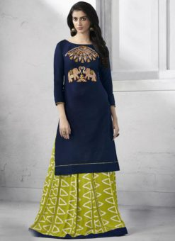 Graceful Navy Blue Cotton Party Wear Kurti With Skirt