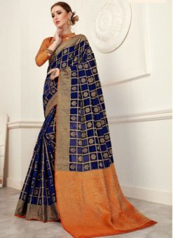 Attractive Orange And Blue Silk Traditional Saree