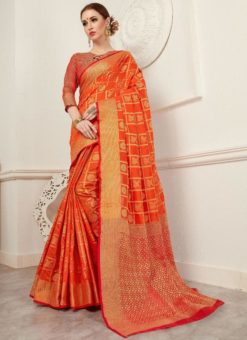 Lovely Orange And Red Silk Traditional Saree