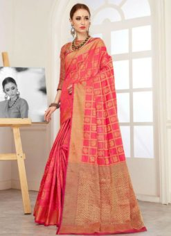Excellent Pink Silk Traditional Saree