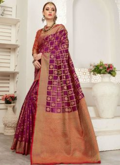 Amazing Purpel And Red Silk Traditional Saree