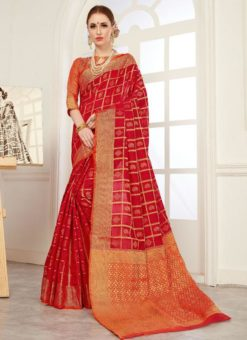 Glorious Orange And Red Silk Traditional Saree