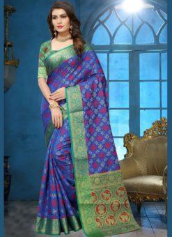 Classic Blue Jacquard Zari Print Traditional Saree