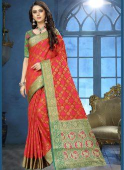 Adorable Red Jacquard Zari Print Traditional Saree