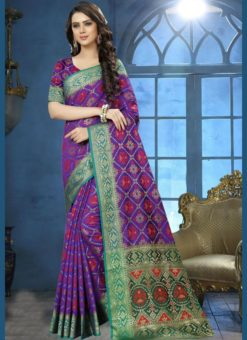 Appealing Purple Jacquard Zari Print Traditional Saree