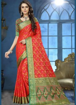 Lovely Red Jacquard Zari Print Traditional Saree
