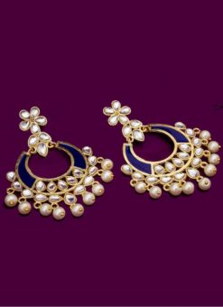 Attractive Golden and Blue Stone With Moti Earrings Set