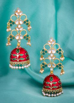 Excellent Golden And Red Color Jhumki Style Earrings