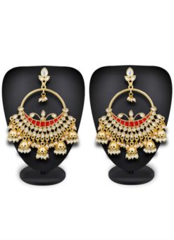 Elegant Traditonal Golden and Red Color Stone And Moti Work Earrings