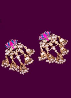 Attractive Golden and Pink Color Traditional Stone Earrings