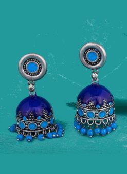 Attractive Blue Colored Jhumki Style Earrings