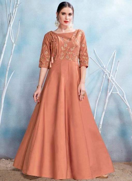 Beautiful Brown Satin Designer Party Wear Gown