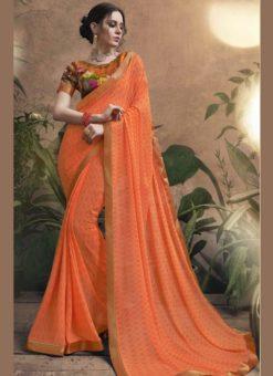 Luxurious Orange Georgette Party Wear Saree