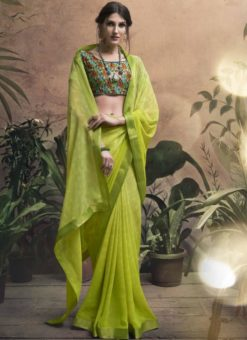 Sumptuous Green Georgette Party Wear Saree