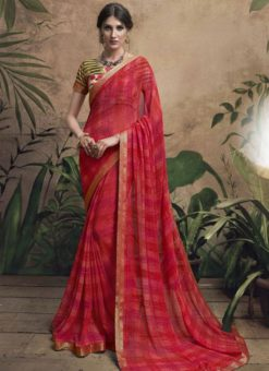 Magnificent Maroon Georgette Party Wear Saree
