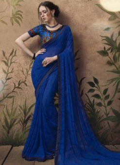 Superb Blue Georgette Party Wear Saree