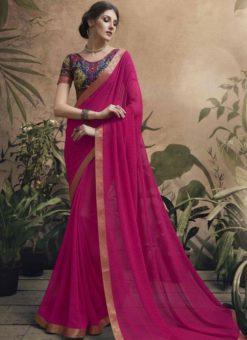 Wonderful Pink Georgette Party Wear Saree