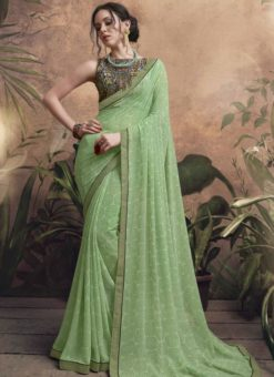 Lovely Olive Georgette Party Wear Saree
