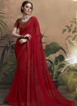 Appealing Red Georgette Party Wear Saree