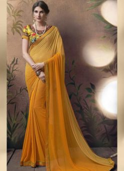 Winsome Yellow Gerogette Party Wear Saree
