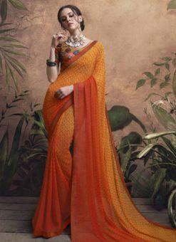 Charming Orange Georgette Party Wear Saree