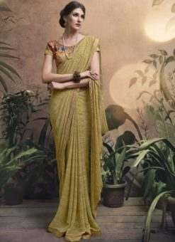 Adorable Gold Georgette Party Wear Saree